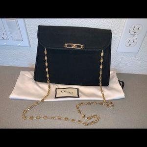 Authentic vintage Gucci black evening bag clutch